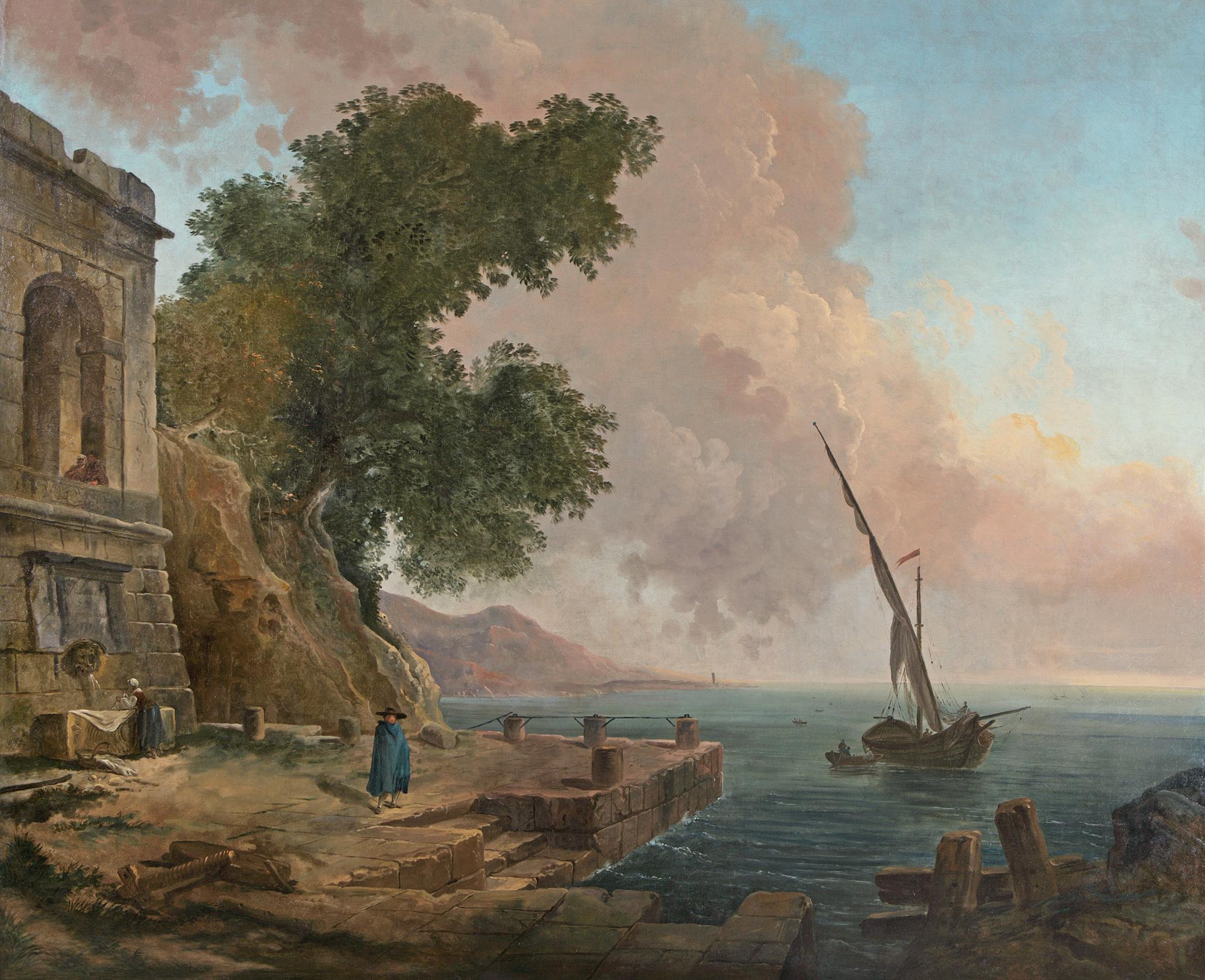 Hubert Robert - Embarcadère méditerranéen © Galerie Michel Descours
