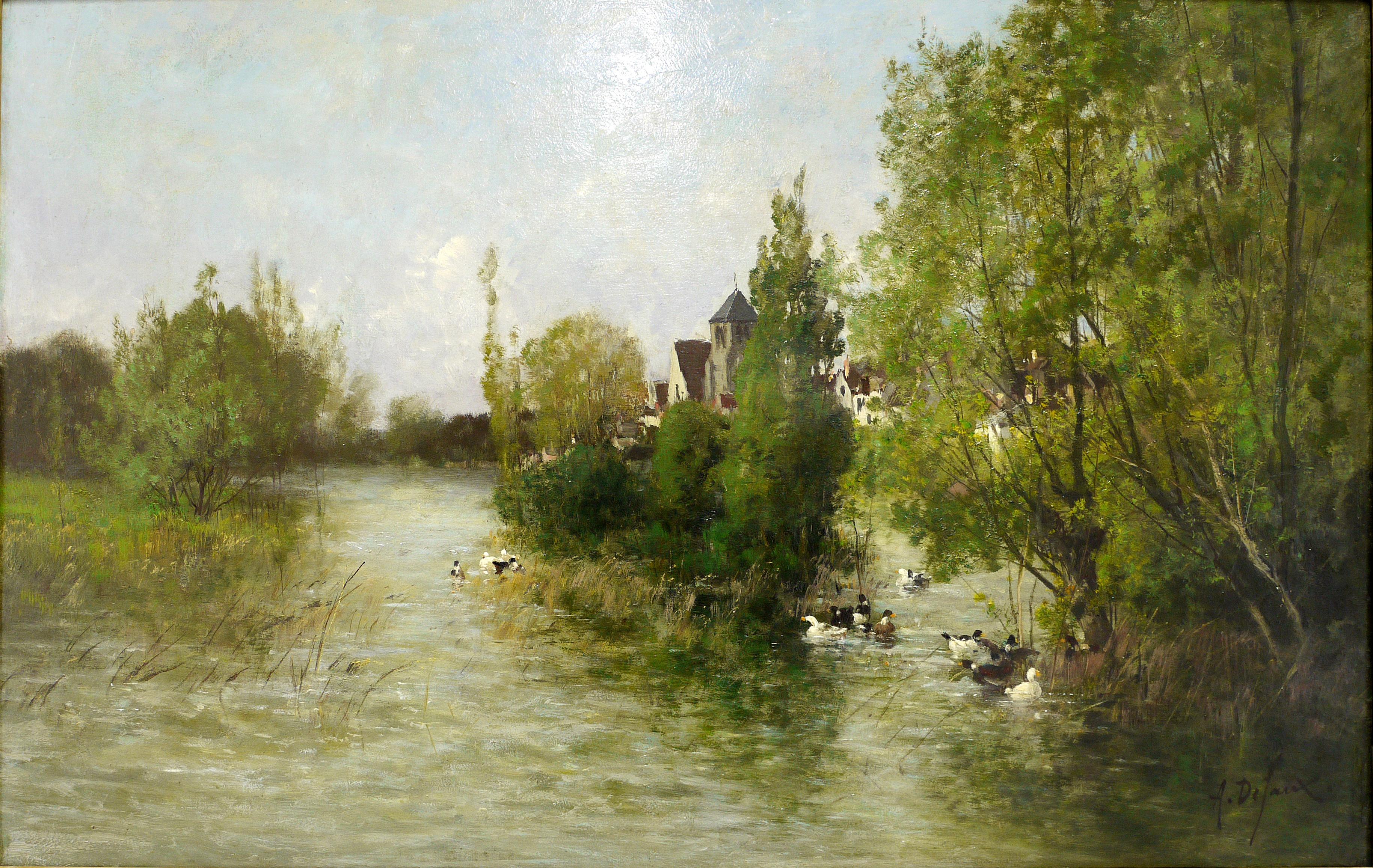 Alexandre Defaux, L'étang aux canards, paysage du Loing, 19ème s. © Musée de Valence, photographie Béatrice Roussel