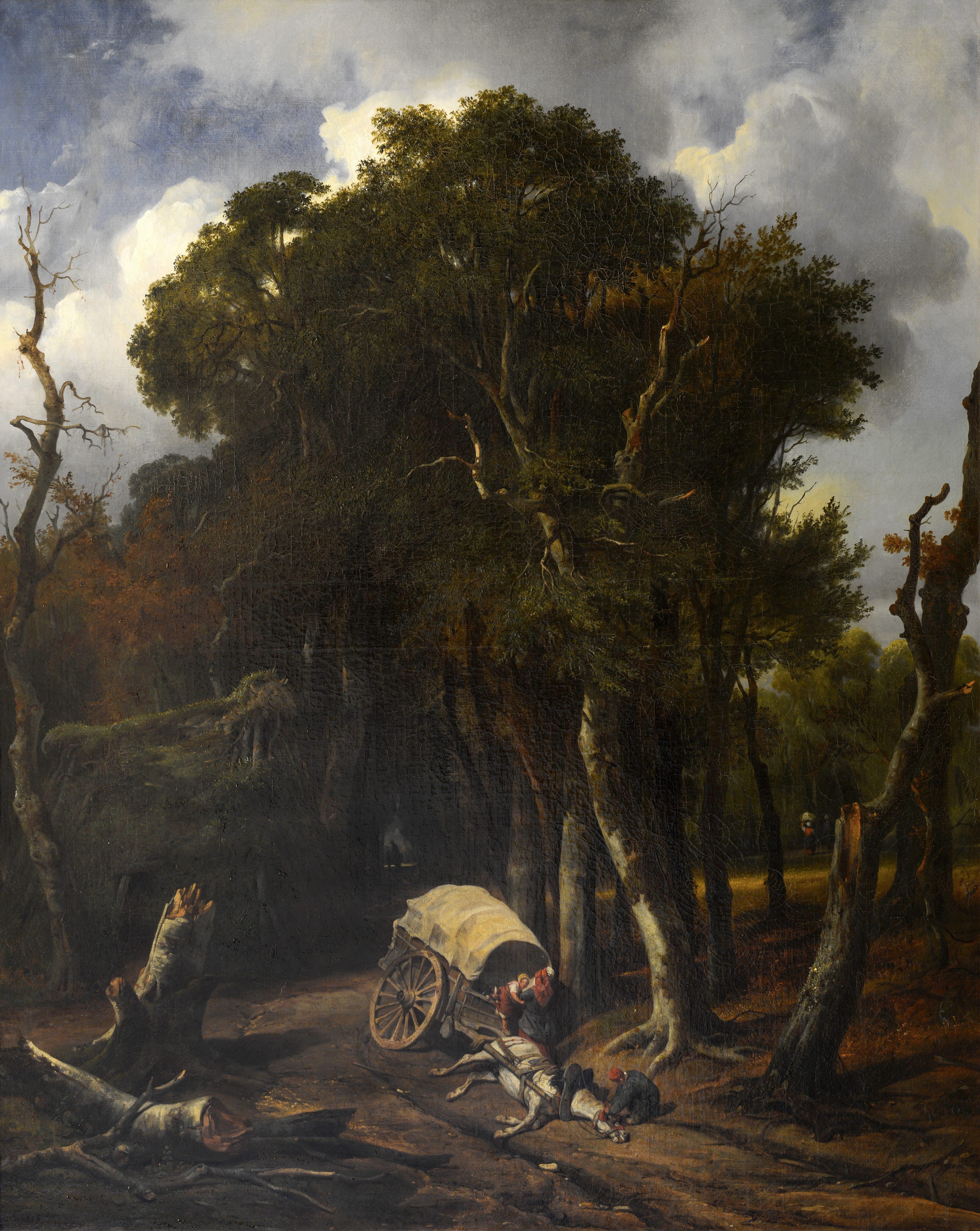 Jean-Marie Oscar Gué, Voiture renverse dans la forêt de Fontainebleau, 1839 © Musée de Valence, photographie Eric Caillet
