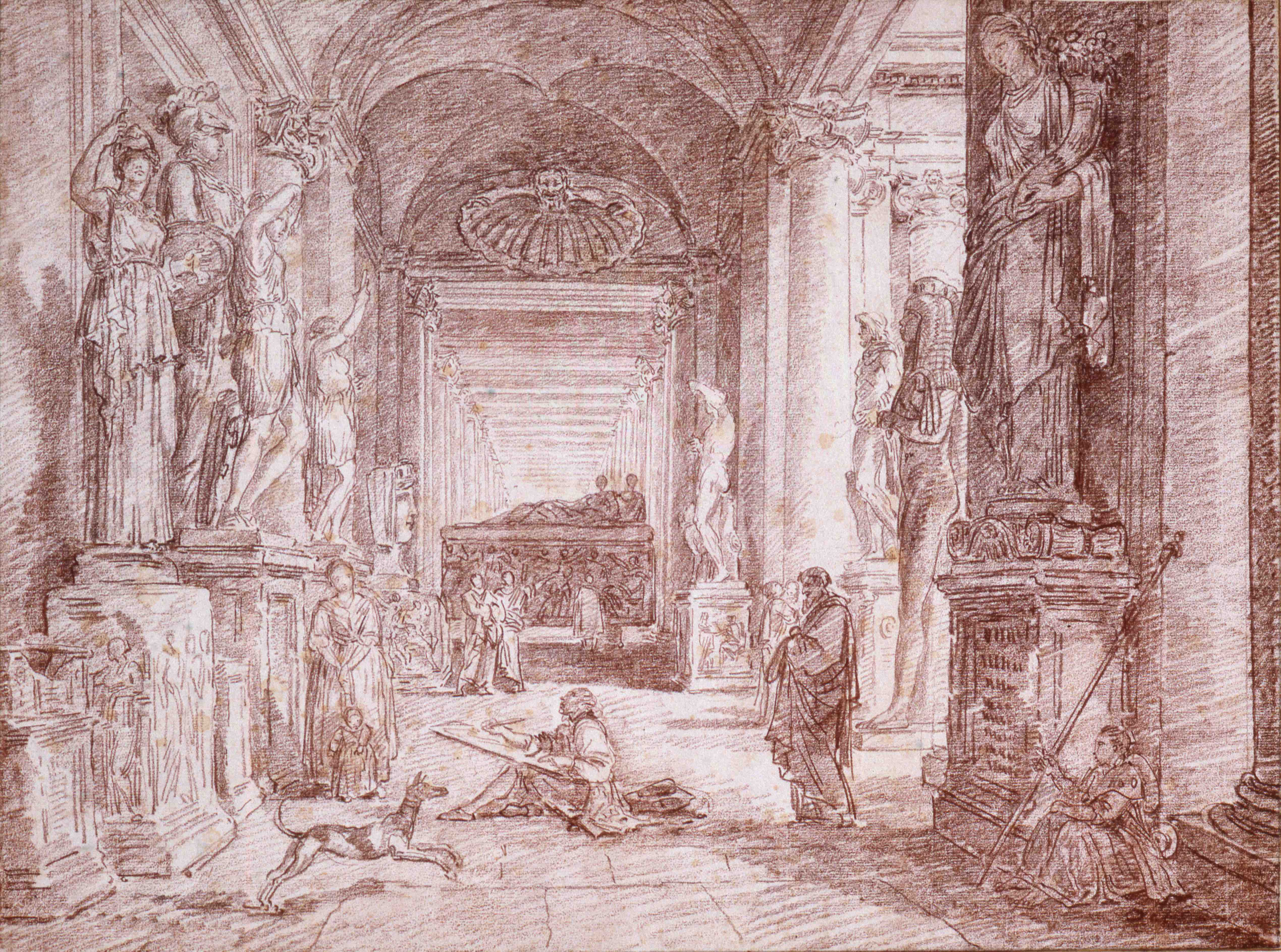 Hubert Robert, Le Dessinateur au Musée du Capitole, Vers 1762-1763 © Musée de Valence, photographie Philippe Petiot
