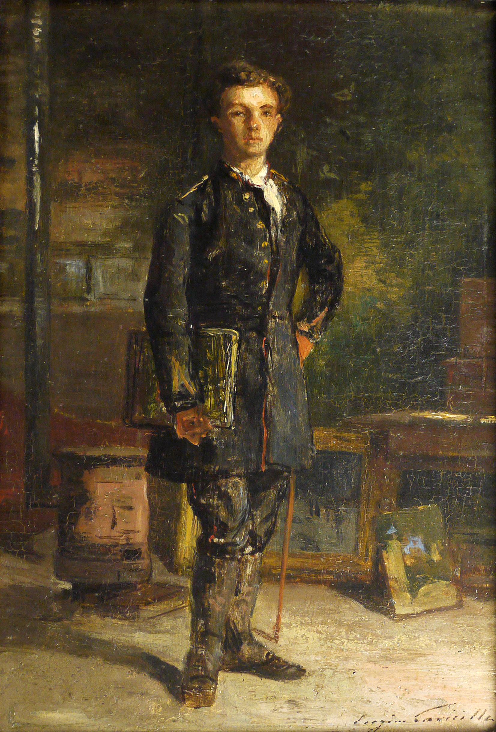 Eugène Lavieille, Jeune Homme devant un poêle, 19ème s. © Musée de Valence, photographie Béatrice Roussel